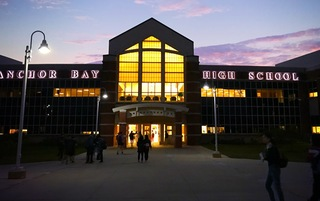 Anchor bay high school main entrance in early morning light