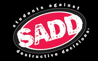 Black, red and white SADD logo - students against destructive decisions