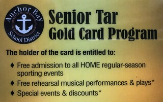 Senior Tar Card Image - Free admission to all home regular-season sports, free rehearsal musical performances and plays, and special events and discounts