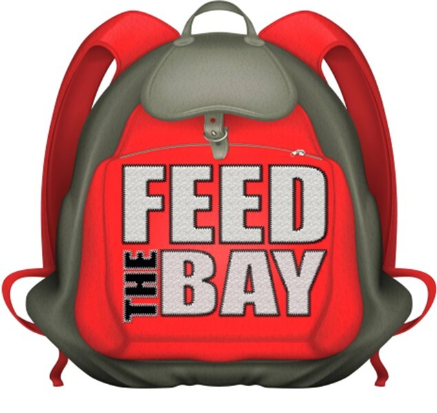 Feed the bay on a red backpack