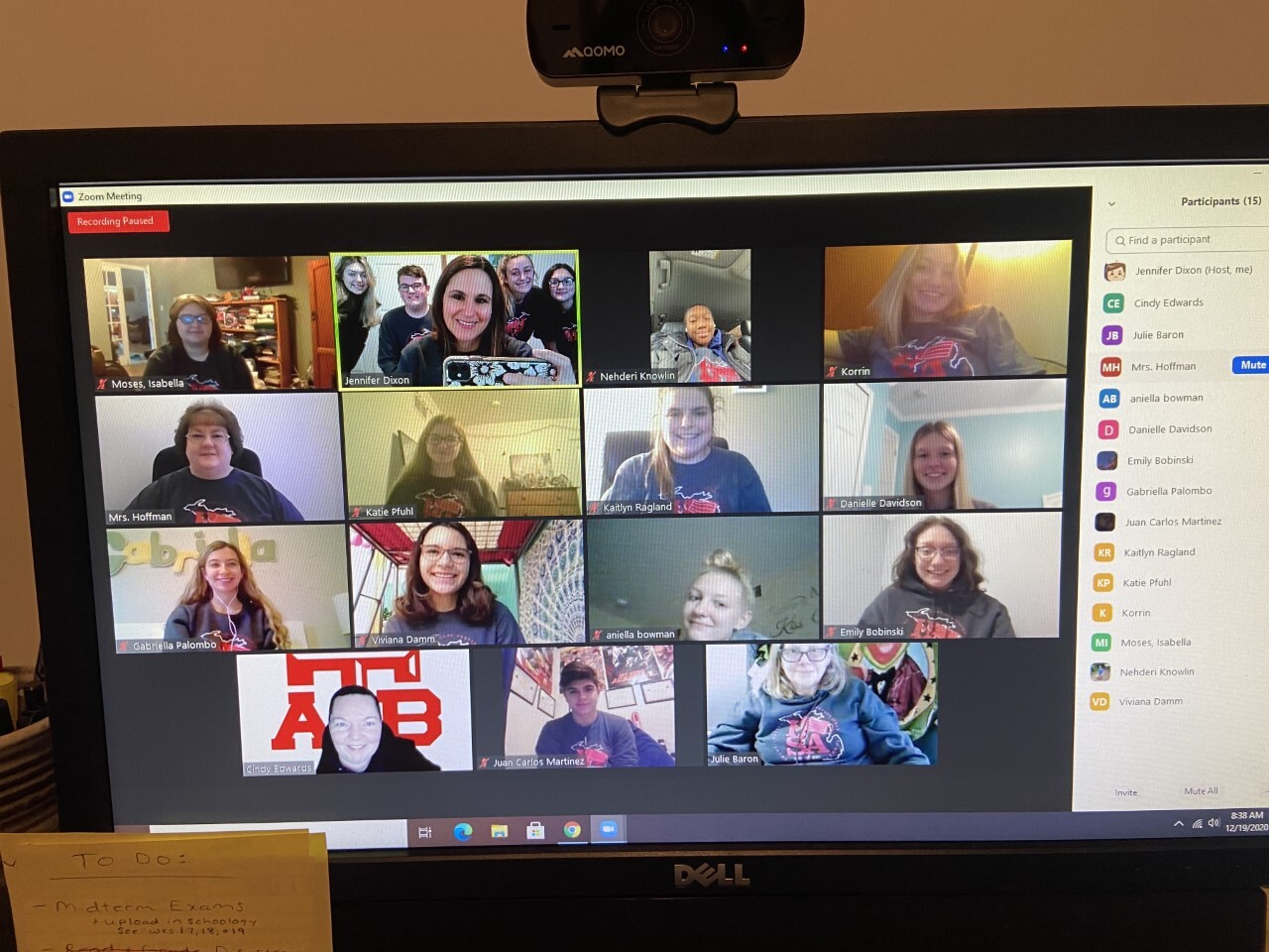 photo of zoom meeting with HOSA students